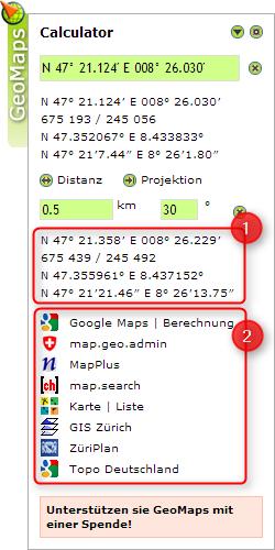 karte koordinaten zeigen