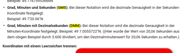 Koordinatenformate, Koordinaten Darstellung und Schreibweise WGS84 - Schweizer Gitter