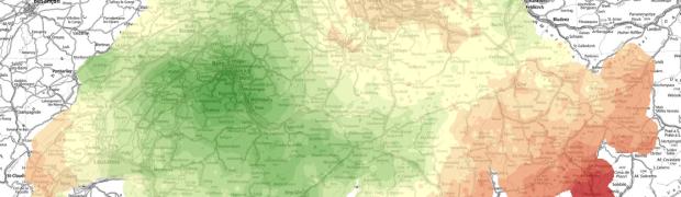 Karte Bezugsrahmenwechsel LV03 - LV95: Koordinatenänderung LV03->LV95